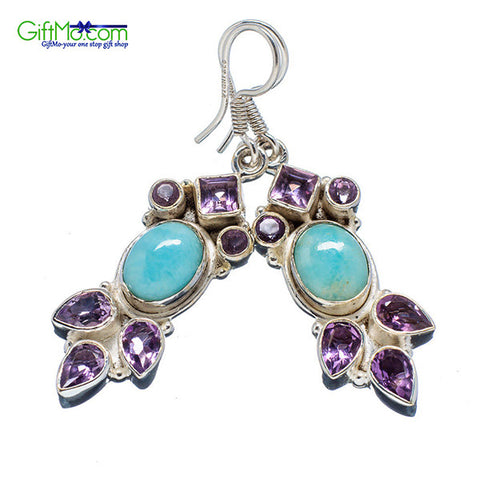 Rare Larimar, Amethyst 925 Sterling Silver Earrings