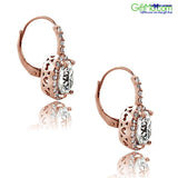 Rose Gold Tone 4ct CZ Oval Halo Leverback Earrings - GiftMo