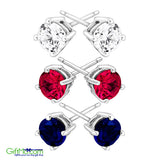 Stunning Ruby, Blue & White Sapphire Stud Earring Set in Sterling Silver