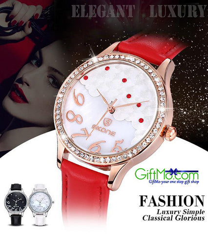 SKONE Luxury Gold Cloud Crystal Rhinestone Quartz Watch For Women - GiftMo