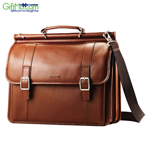 Samsonite Leather Dowel Flapover Business Case - GiftMo