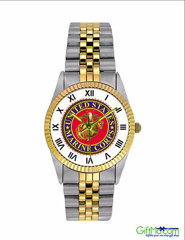 """Semper Fi"" US Marine Corps Watch Stainless Steel Band - GiftMo"