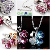 Shinny Crystal Lucky Four Leaf Clover Love Heart Charm Pendant Necklace - GiftMo