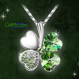 Crystal Lucky Four Leaf Clover Love Heart Charm Pendant Necklace