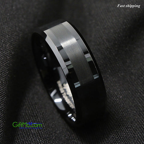 Sleek Looking Pure Tungsten Carbide Classic Fashion Metal Plated Scratch Resist Men's Ring