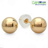 Solid 14K Gold Ball Stud Earrings - GiftMo