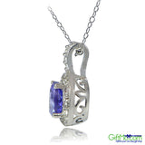 Beautiful Sterling Silver 0.75ct Tanzanite & White Topaz Round Drop Necklace