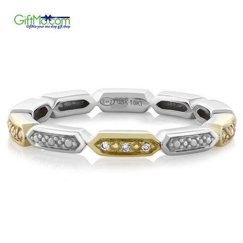 Stunning 10K 2-Tone White Yellow Gold Natural White Diamond Ladies Wedding Eternity Band