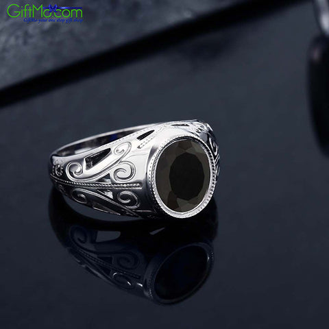 Stunning 925 Sterling Silver 4.29 Ct Oval Natural Black Onyx Ring