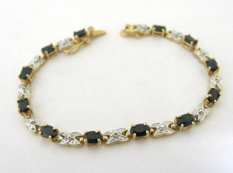 "Stunning 925 Sterling Silver Black Sapphire Diamond Accent Tennis Bracelet 7"" - GiftMo"