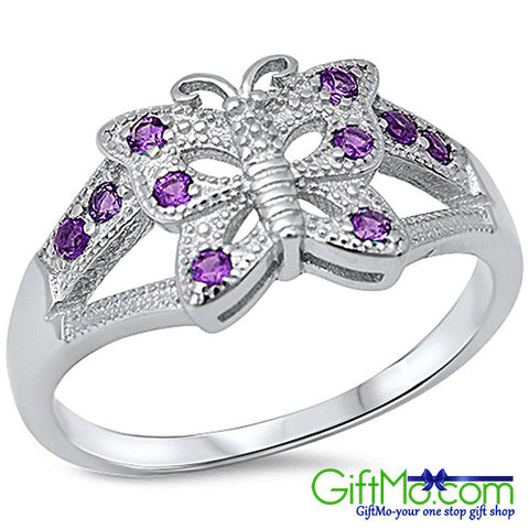 Stunning Amethyst Butterfly 925 Sterling Silver Ring - GiftMo