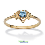 Stunning Birthstone Heart Ring Simulated Aquamarine