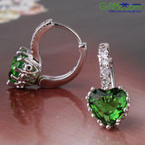 Stunning Ladys Earring 18k White gold Filled emerald Leverback Earring