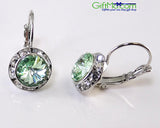 Stunning Mint Green Genuine Austrian Crystal Silver Rhodium Lever back Earrings - GiftMo