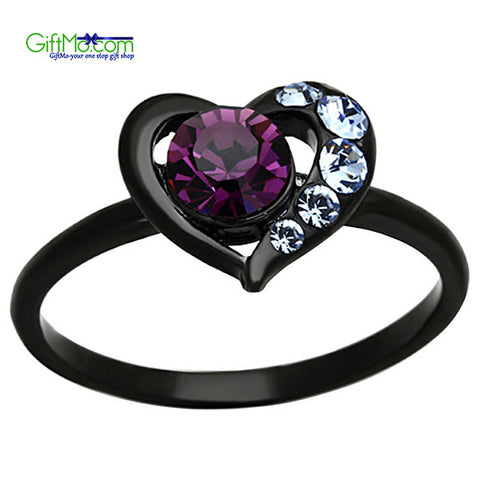 Stunning Round Cut Amethyst CZ Black Stainless Steel Heart Fashion Ring