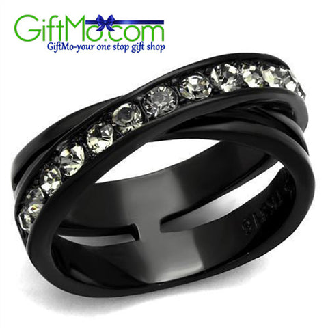 Stunning Stainless Steel Ion Black Plating Black Crystal Eternity Ring