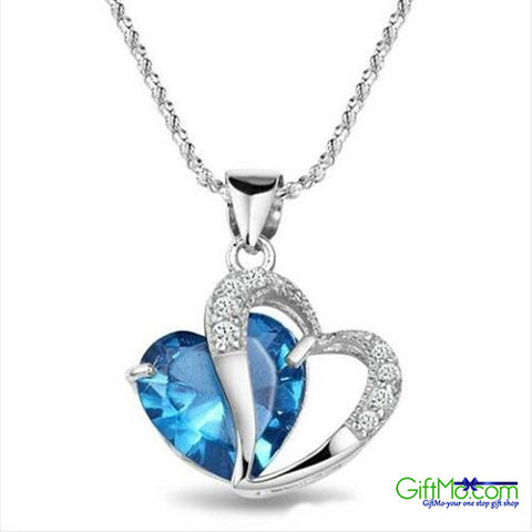 Stunning Sterling Silver Heart Cut Blue Topaz Gemstone Pendant Necklace Earrings Gift Set
