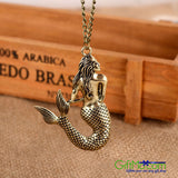 Eye Catching Vintage Bronze Mermaid Pattern Long Chain Lady Charm Necklace - GiftMo