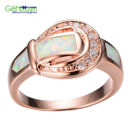 Stunning White Fire Opal CZ Engagement Belt Buckle Rose Gold Filled  Ring