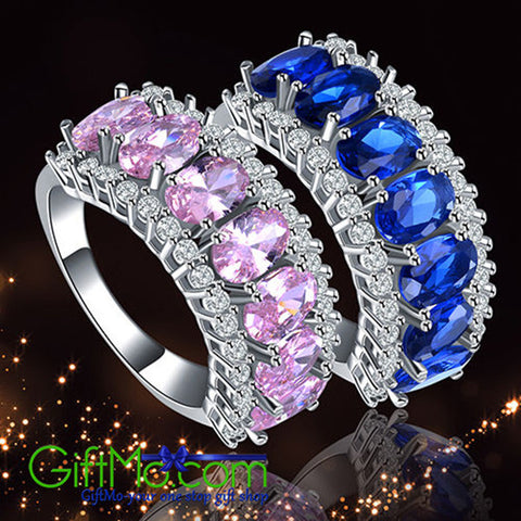 Stunning Women's Ellipse Shape Zircon Bague Wedding Ring