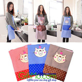 Stylish Cartoon Bear Stripe Dot Apron Waterproof Chef Kitchen Bib With Pocket