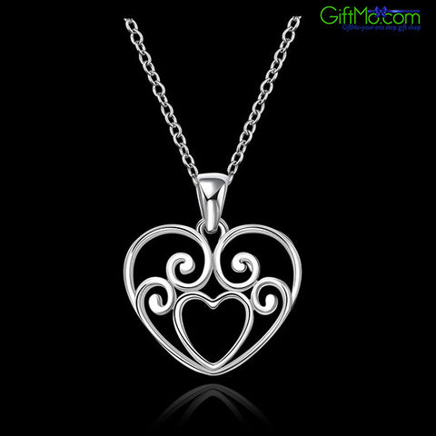 Stylish Heart 925 Sterling Silver Plated Pendant Necklace - GiftMo