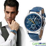 Stylish Mens Watch Faux Leather Band Analog Quartz