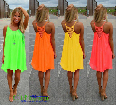 Stylish Summer Beach Casual Sleeveless Evening Party Mini Dress - GiftMo
