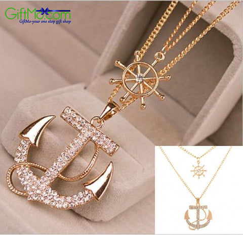 Beautiful Gold-Plated Anchor Necklace Embedded with Swarovski Elements - GiftMo