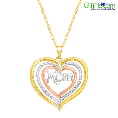 Two Tone 14K Gold Triple Heart Mom Design with Diamond Sterling Silver Necklace for Women