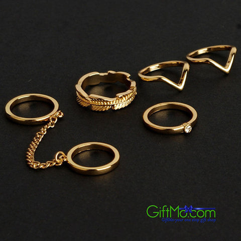 Unique 6pcs / Set Gold Urban Rings Crystal Above Knuckle stacking Band Midi Mid Ring