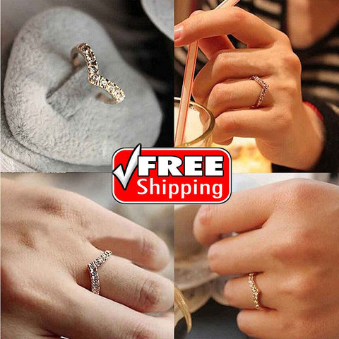 Unique Design Fashion Women's  V-shaped Style Diamond Pinkie Ring