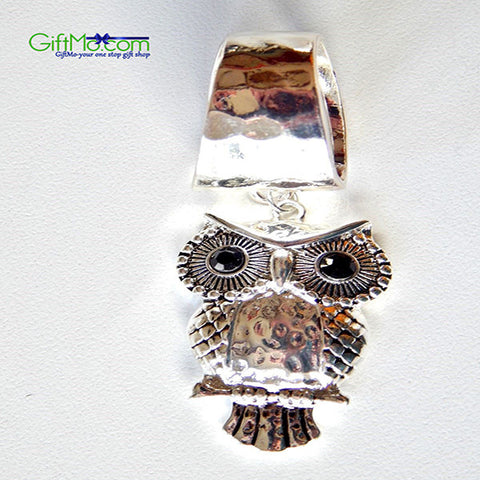 Unique Hammered Owl Silver Circle Scarf Ring