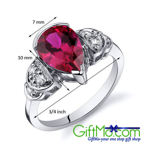 Unique Tear Drop 2.50 cts Ruby Sterling Silver Solitaire Engagement Ring