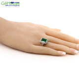 Vintage 5.00 Ct  Women's 925 Sterling Silver Octagon Cut Nano Emerald Ring