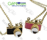 Vintage Antique Camera Design Colorful Long Chain Pendant Necklace Pink Or Black - GiftMo
