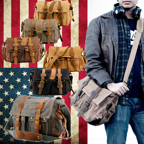 Vintage Men's Style Canvas Leather Satchel School Military Shoulder Messenger Bag
