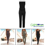 Women Fashion Playsuit Solid Zipper Deep V Neck Casual Jumpsuit Long Romper - GiftMo