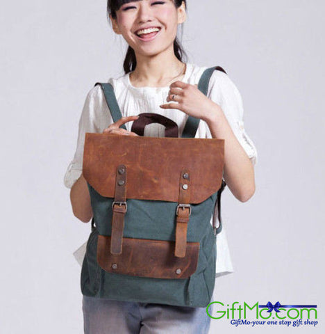 Women's Genuine Leather Vintage Retro Rucksack Canvas Sports Laptop Backpack - GiftMo