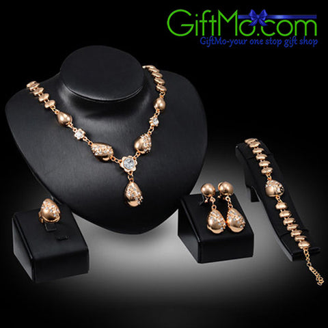 Wonderful Flower Waterdrop Pendant Collar Necklace Bracelet Ring Earrings Set