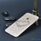 Girls 3D Bling Crystal Diamond Heart Case Cover for All iPhone 6 Models