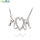 Stylish 925 Sterling Mom Heart Diamond Design Pendant Silver 18 Inch Length Necklace - GiftMo