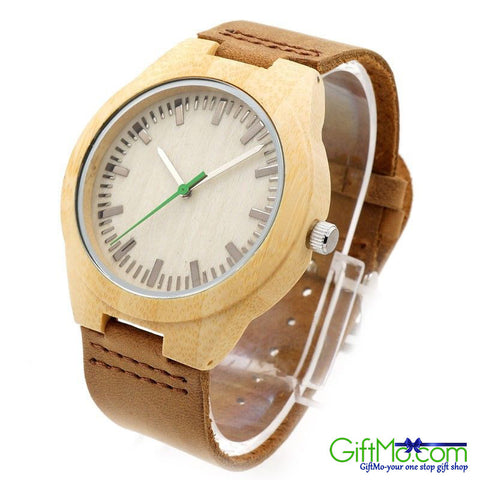 Designer Wooden Watch by Gassen James - Sahara - Bamboo and leather - GiftMo