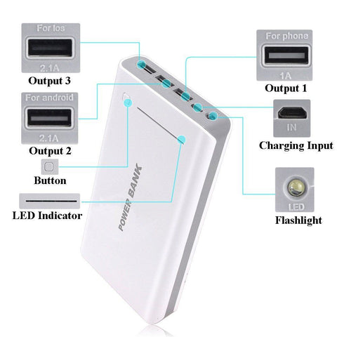 3 Port USB 50000 mAh Portable Power Bank Charger with Flash Light For Samsung iPhone - GiftMo