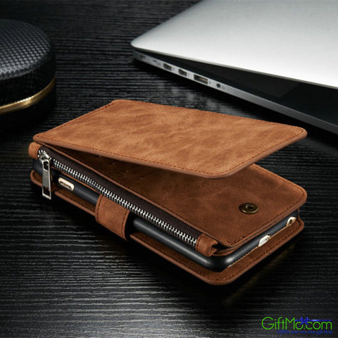 Stunning Design Genuine Leather Multi Functional Zipper Wallet Card Case Cover For Apple iPhone - GiftMo