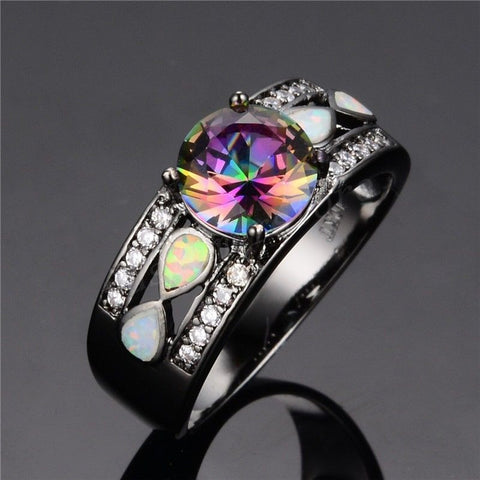 10KT Rainbow Color Opal Gold Filled Black Engagement Ring For Women - GiftMo