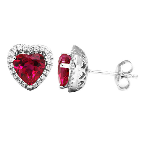Red Ruby Romantic Stud Earrings .925 Sterling Silver - GiftMo