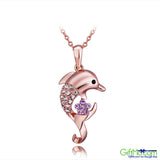 "Highest Quality 18K Rose Gold GP Crystal Jumping Fish Men Women Necklace 18"" PN738 - GiftMo"