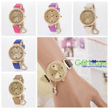 Fashion Women Bracelet Bangle Leather Crystal Dial Quartz Analog Wrist Watch - GiftMo
