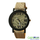 Fashionable Unisex Natural Bamboo Wood PU Band Watches Men Women's Quartz Wooden Wrist Watch